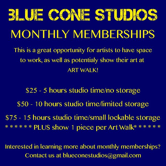 Monthly memberships are now available at Blue Cone Studios! Are you looking for a space to work in? Art supplies taking over your living space? Our monthly membership may be the solution! *Monthly memberships are keyless access to Blue Cone. A key-holder must be present for monthly members to access Blue Cone during regular studio hours. Hours are: Mon-Sat 12-5pm with additional hours of 5-10 pm on  M/W/F!!! Blue Cone Studios is powered by Shunpike. Shunpike is a 501 (c)(3) non-profit agency that provides independent art groups in Washington with the services, resources, and opportunities they need to forge their own paths to sustainable success.  https://poweredbyshunpike.org/c/PBS/a/blueconestudios . . . . . . . . . . #blueconestudios #seattle #seattleart #capitolhillseattle #studio #art #artist #painting #painter #photography #photographer #sculpture #community #pnw #pnwartists #makemoreart #gallery #visualarts #seattleartists #igers_seattle#ig_artists #ig_mood #fineart #artspace #process #wip