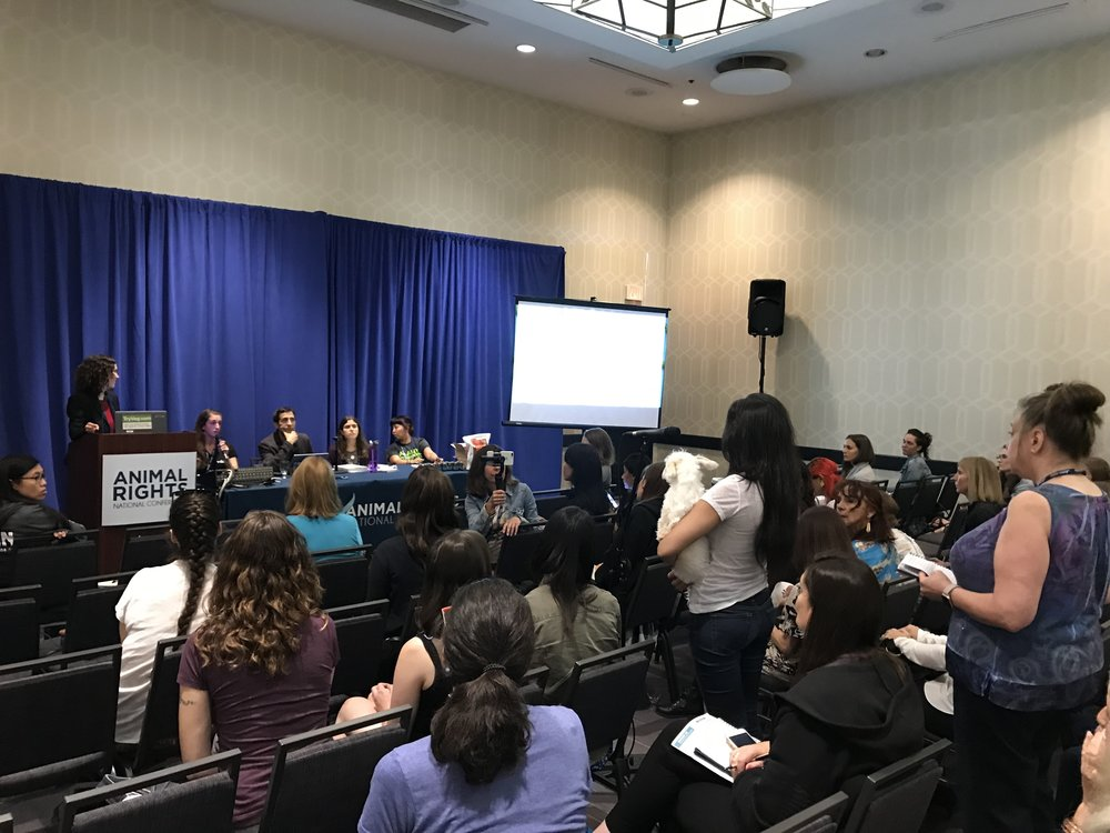 Wolfson speaks on the Nutrition for Animal Companions panel at the 2018 Animal Rights National Conference