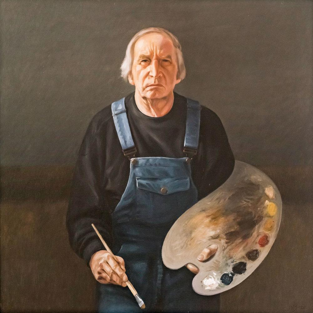 Werner Juza, Selbstportrait , 1989,  Öl auf Holz
