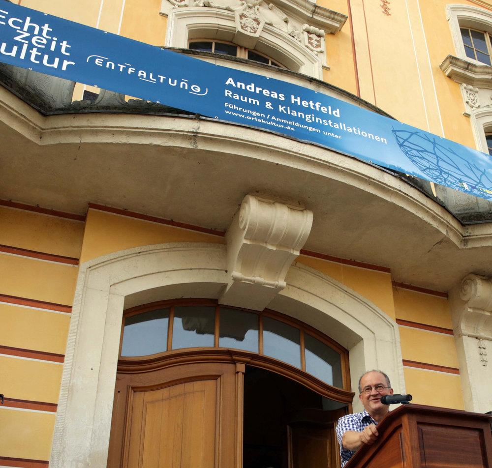 Eröffnung des wieder angelegten Schlossparks , der Ausstellung und Festtage in Wachau. Arnold Vaatz am 17.  August 2018 Foto: Matthias Schumann © ORLA e.V.