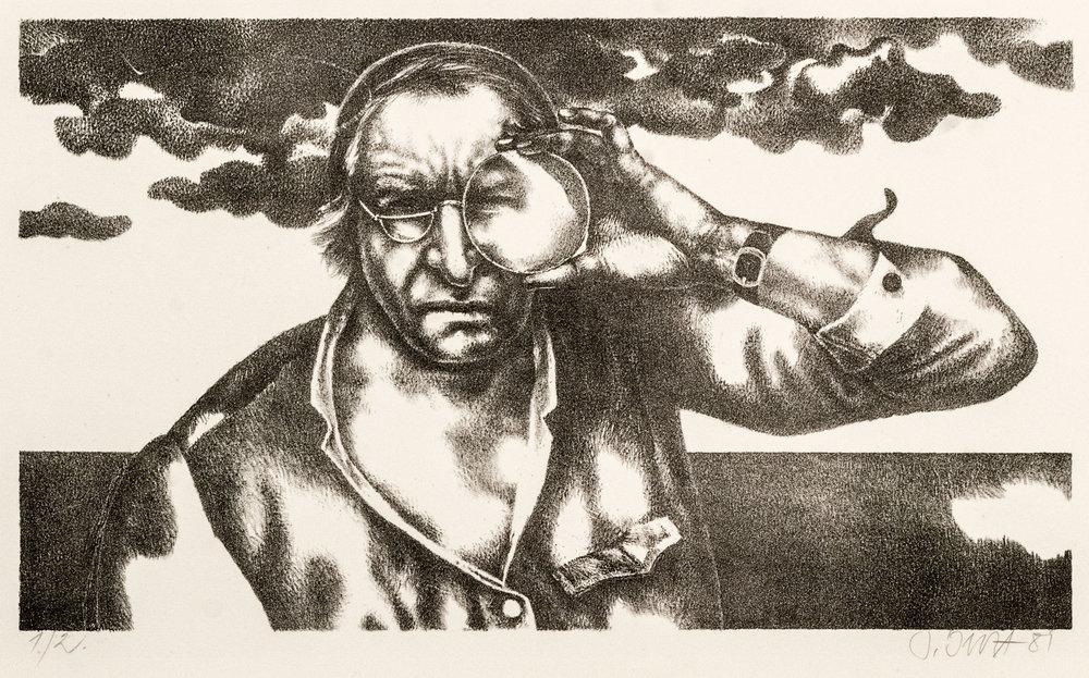 Werner Juza, »Selbst mit Vergrößerungsglas« , 1981 Lithografie 1./2., 40,5x24,5cm