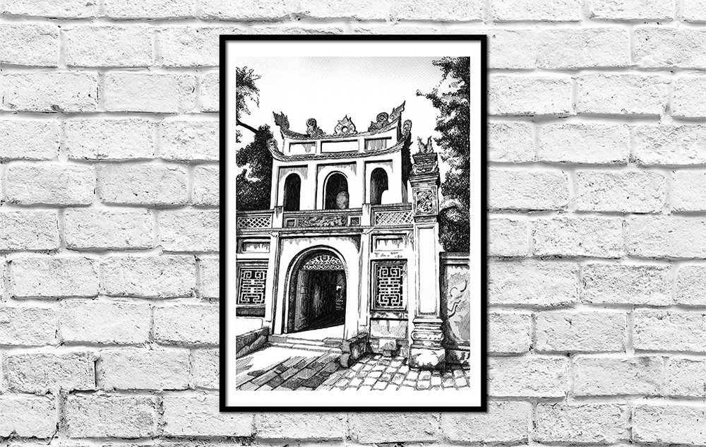 TEMPLE OF LITERATURE   Hanoi, Vietnam, 2018: Commissioned as a present taking 20 hours to complete; this piece captures the gateway to the Temple of Literature in Hanoi, Vietnam. It allowed me to spend an entire morning exploring the Temple in order to choose my subject, awestruck at the sheer size and magnitude of the space and so grateful to have been able to walk the hallowed hallways. The  Temple of Literature  (Vietnamese:  Văn Miếu ) was built in 1070, and is dedicated to Confucius. It hosts the Imperial Academy, Vietnam's first National University. A definite must-see for anyone who marvels at ancient architecture and history.