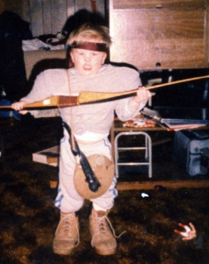 Dressed up as Rambo, circa 1987