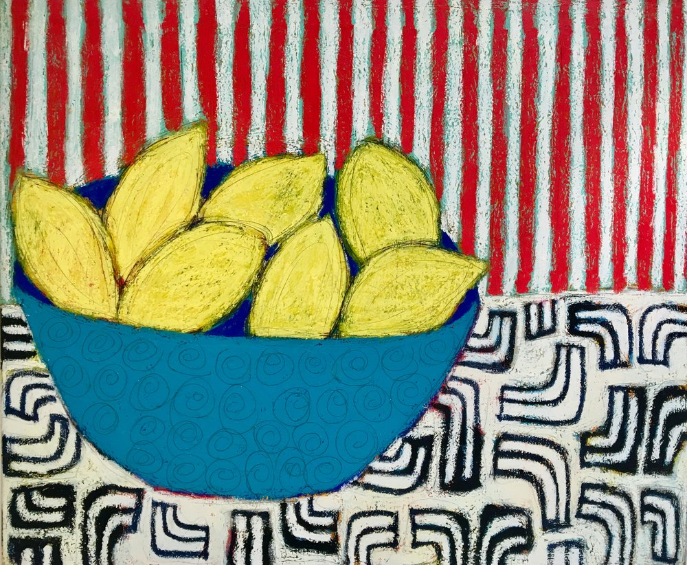Red stripes lemon bowl