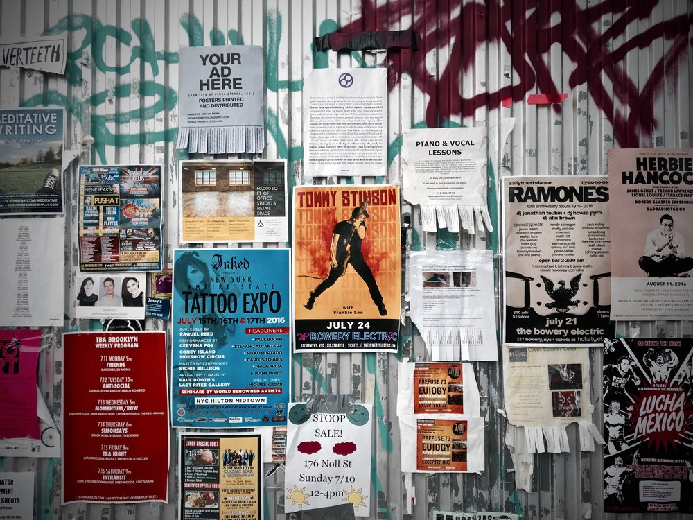 Posters - We are keeping print to an absolute minimum, instead, humans will point the way and direct you around our venues.