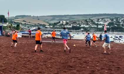 5 a-side beach football - Played to Shaldon rules, teams of five that must include at least one female player at all times battle it out on the beach pitch. A knock out competition with each match lasting ten minutes and playing to the golden goal rule to find the winner in extra time if scores are drawn at full time.