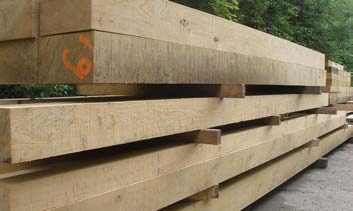 Long TH1 Green Oak Beams ready for delivery throughout the UK