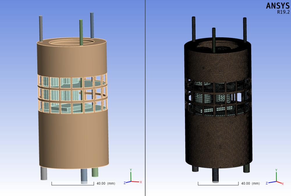 Εικόνα 1  Γεωμετρία (αριστερά) και πλεγματοποίηση (meshing) (δεξιά) του δορυφόρου, που χρησιμοποιήθηκε για την προσομοίωση κατά το άνοιγμα του αλεξίπτωτου.