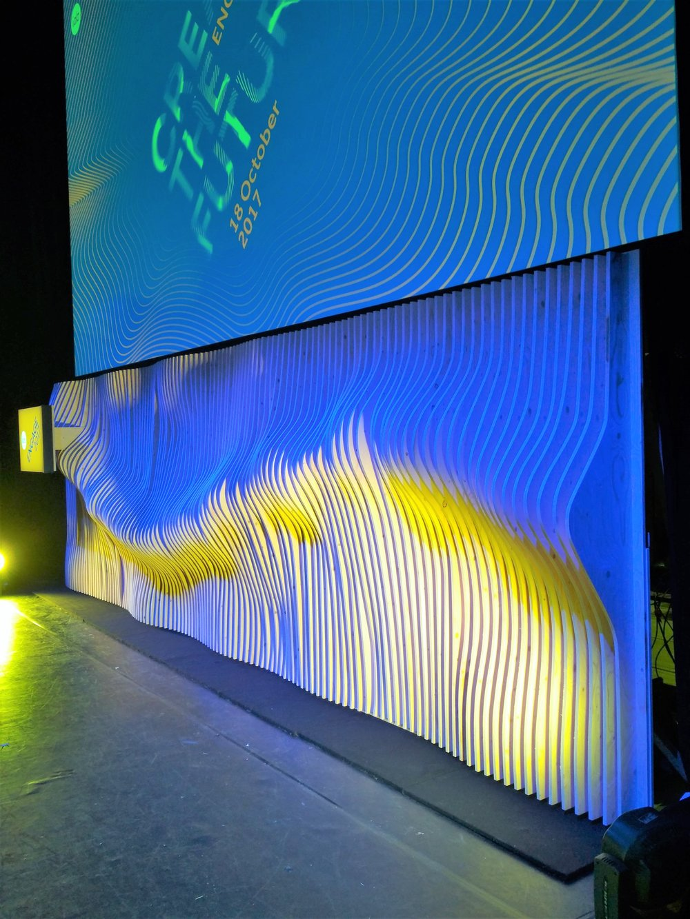 IAB Engage 2017 stage backdrop made from 127 piece of cut plywood using a CNC machine.