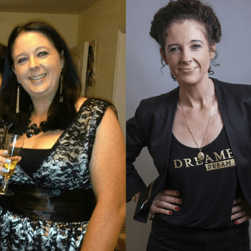 Before and after picture of woman who was 5 stone overweight and chronically ill