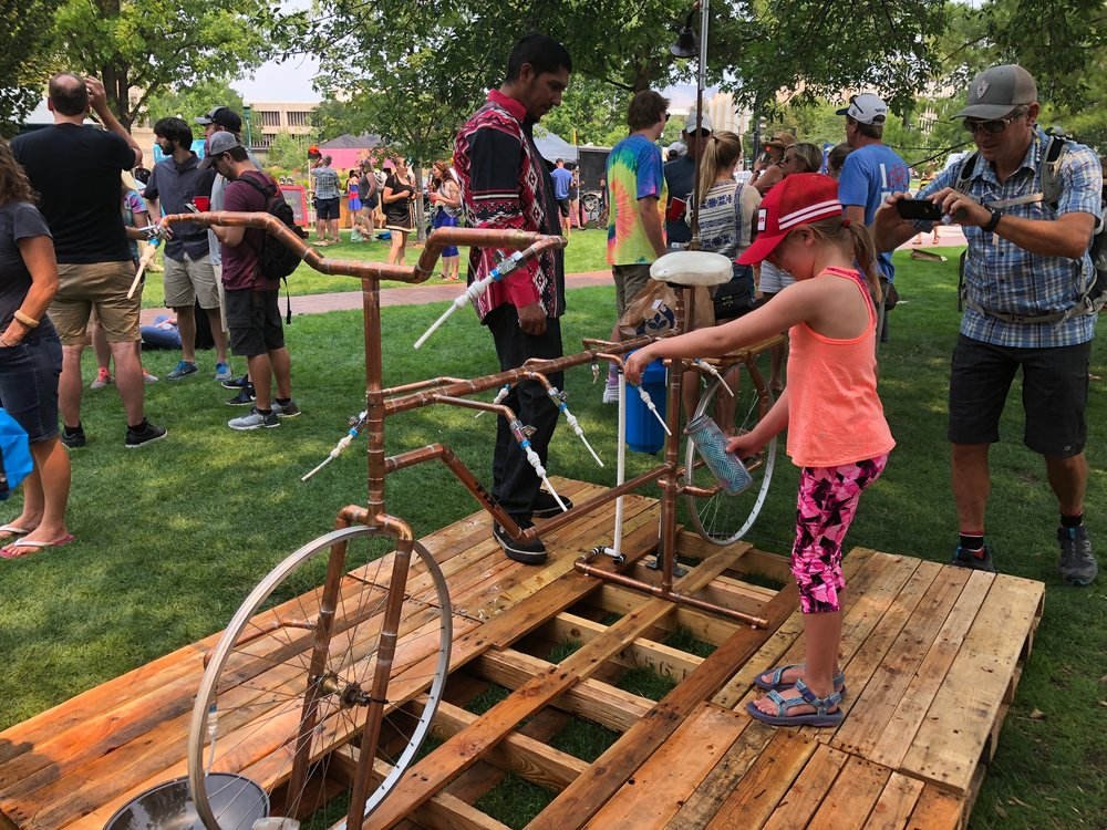 """Getting water at the Boise Goat Head Fest - a celebration of all things """"BIKE"""""""