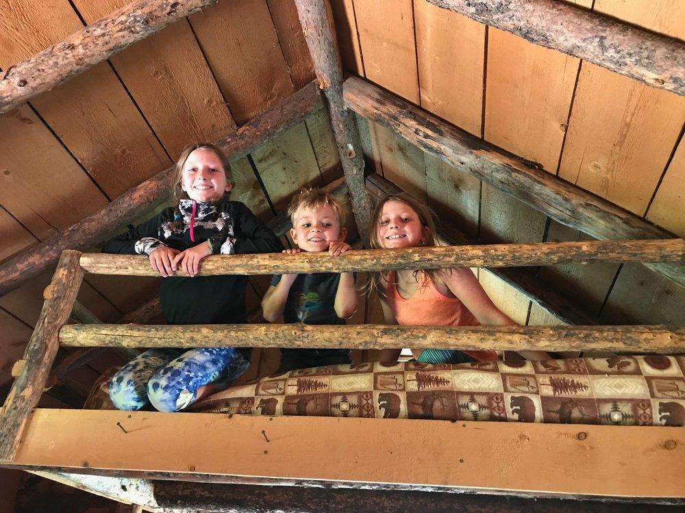 Each cabin had a loft where the kids slept