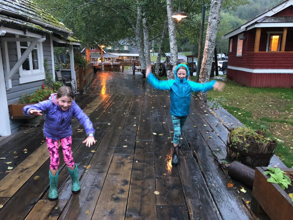 The boardwalks were really slippery and the girls loved running and sliding