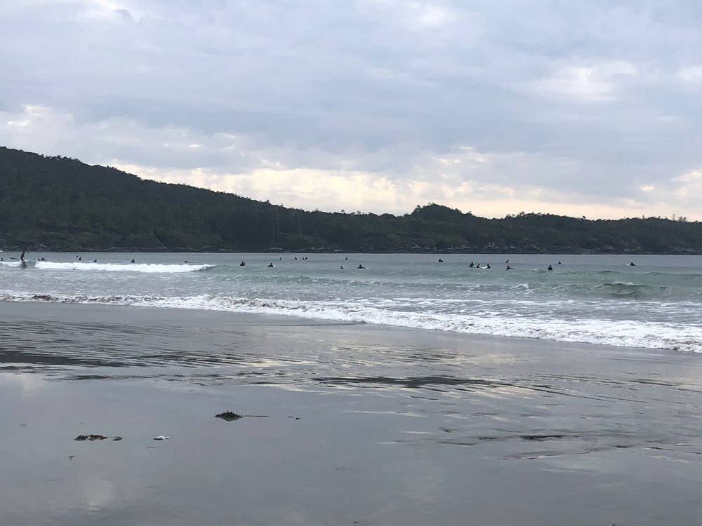 There were so many surfers in the water