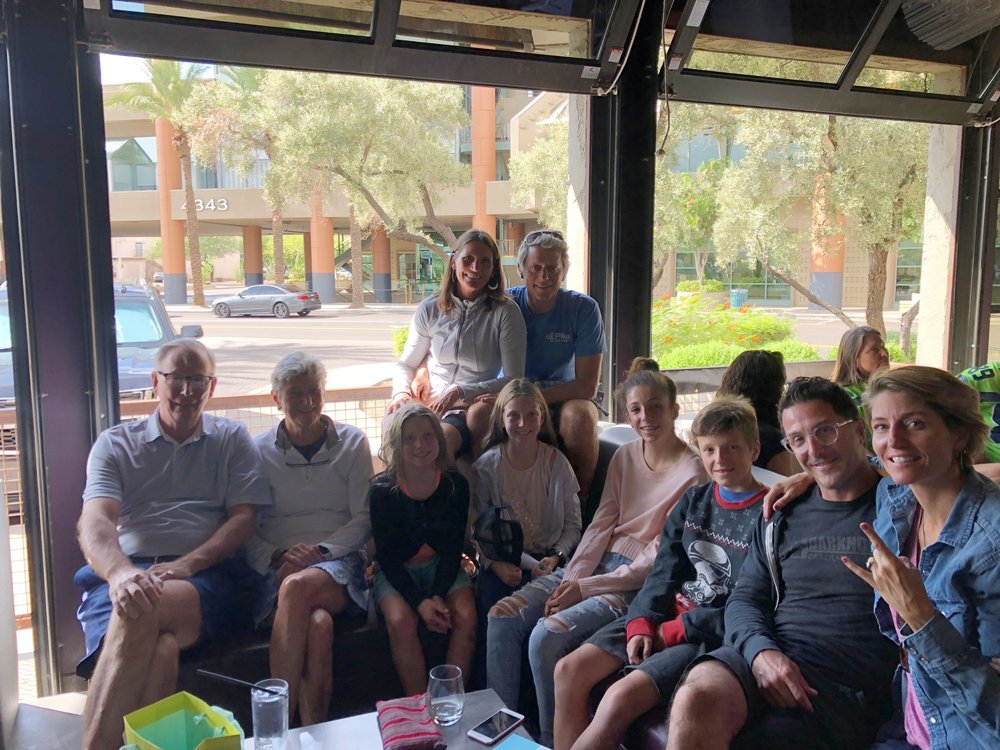 The whole crew gathered to watch Sunday football at a bar in downtown Scottsdale
