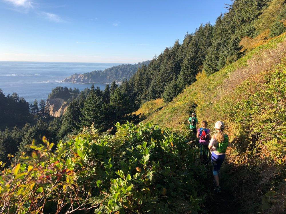 Hiking back down the trail
