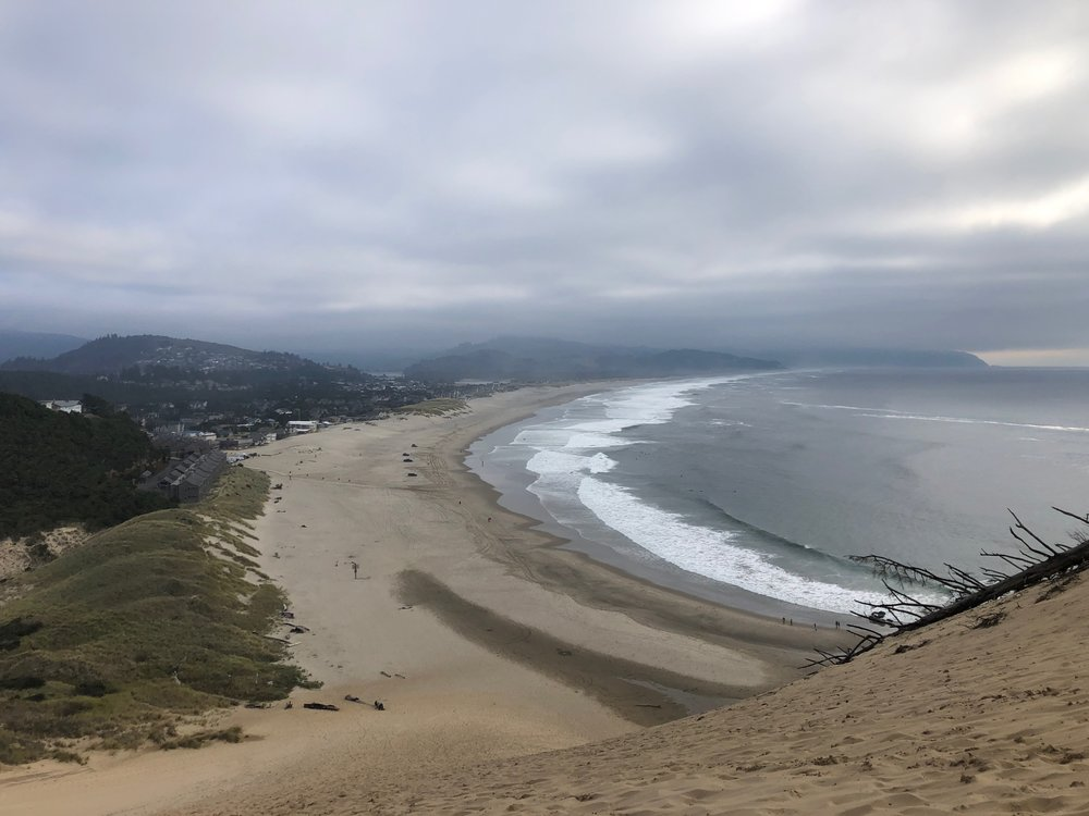 Looking down over Pacific City from the sand dune