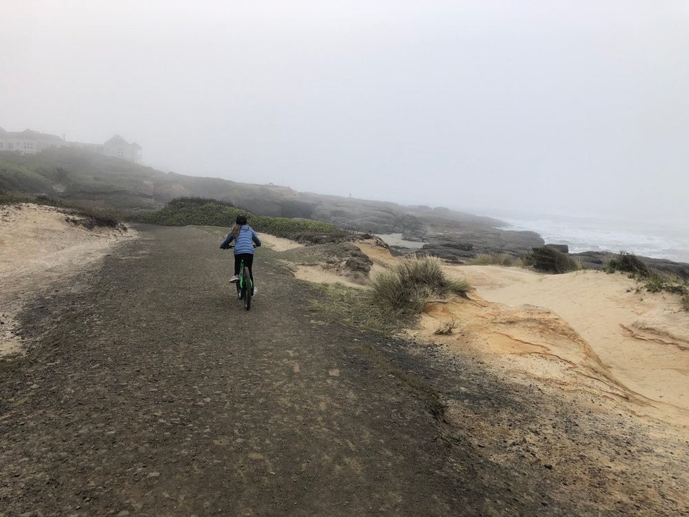 Ellie on the Oregon Coast Trail on our way to Yachats