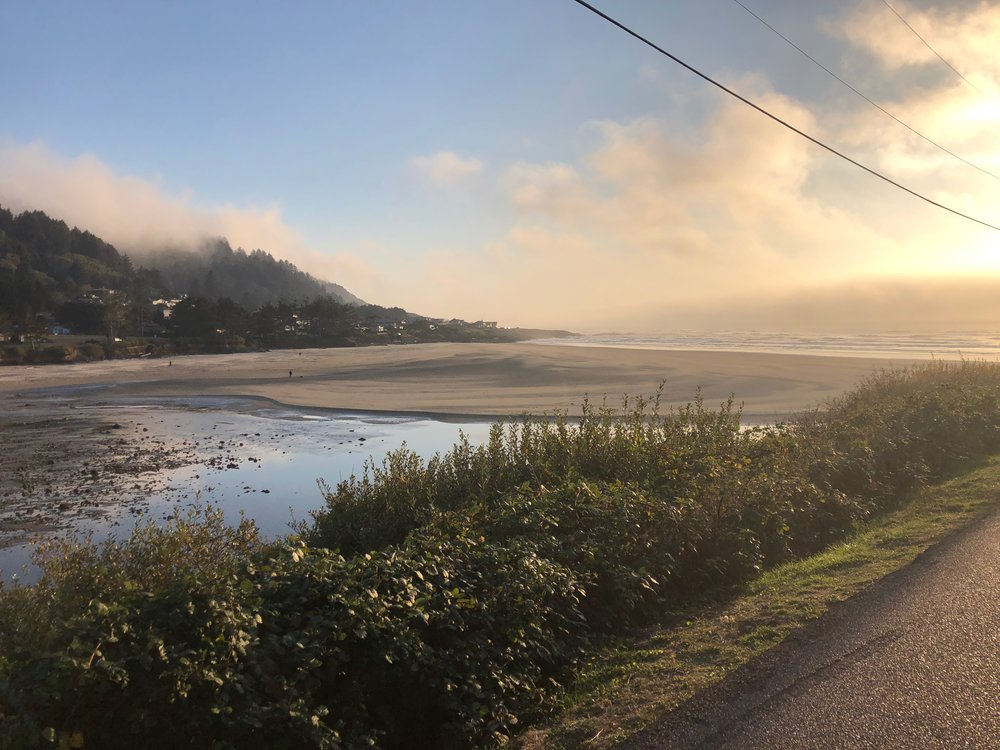 The clouds breaking up and the sun starting to come out in the town of Yachats