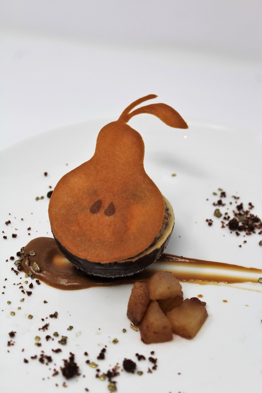 Pear Caramel Mousse Cake, Hazelnut Marjorine, Chocolate Crumble, White Chocolate Ice Cream