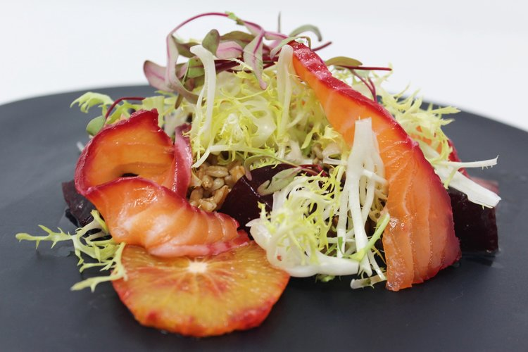 Gotham Hall's Beet Cured Salmon.