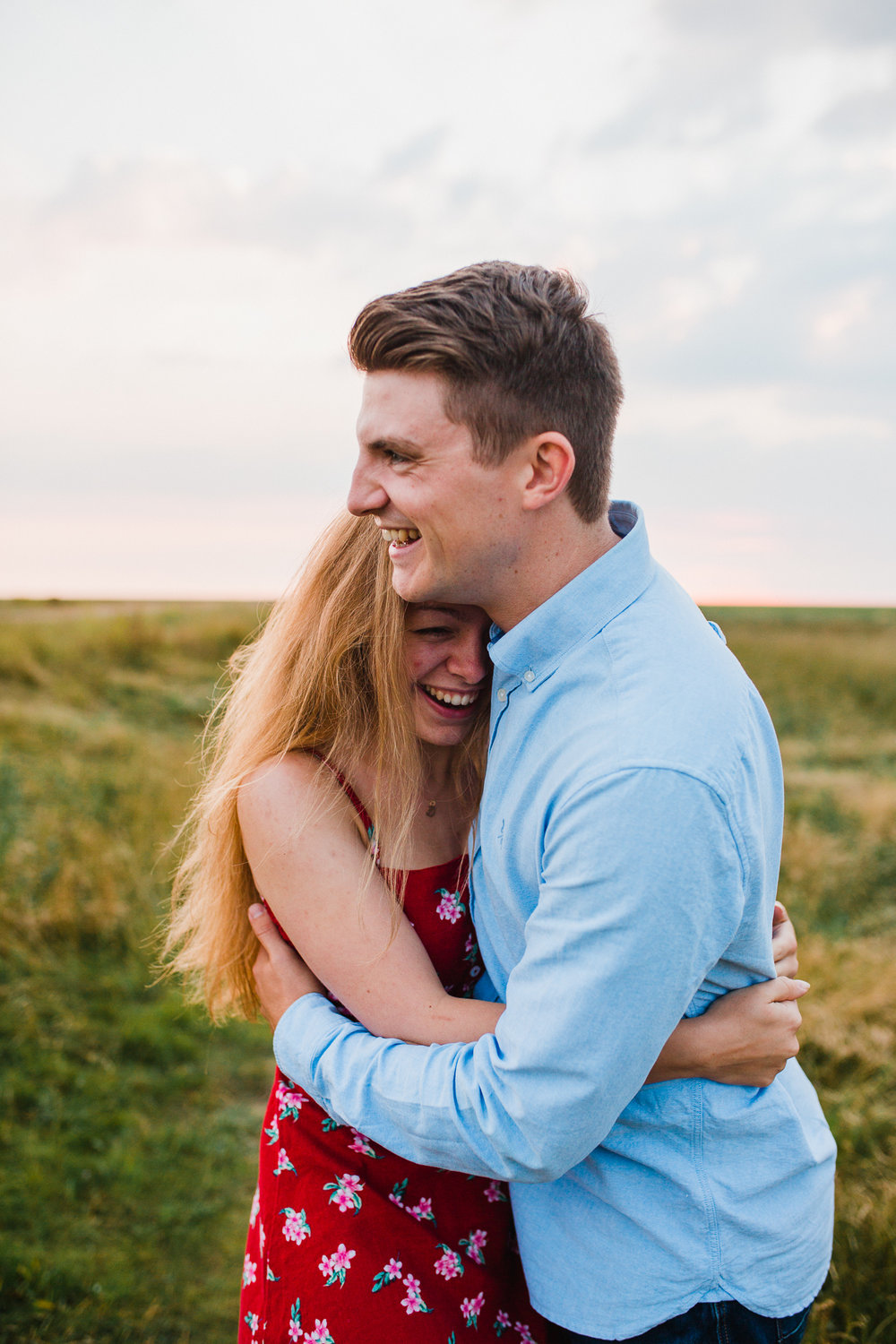 Southport Engagement couple portrait at sunset