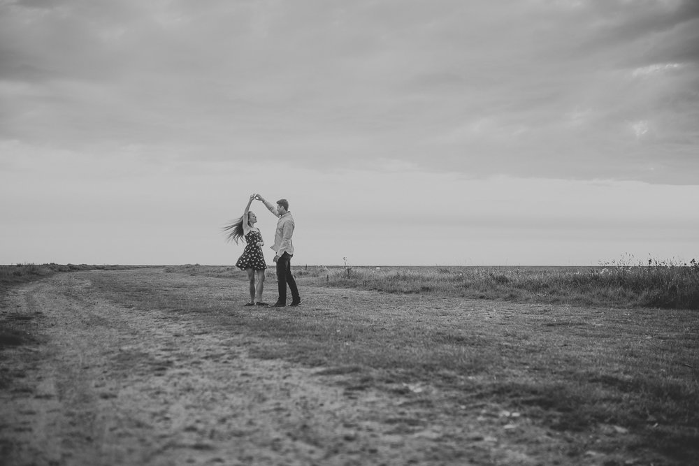 Southport Engagement couple portrait at sunset black and white