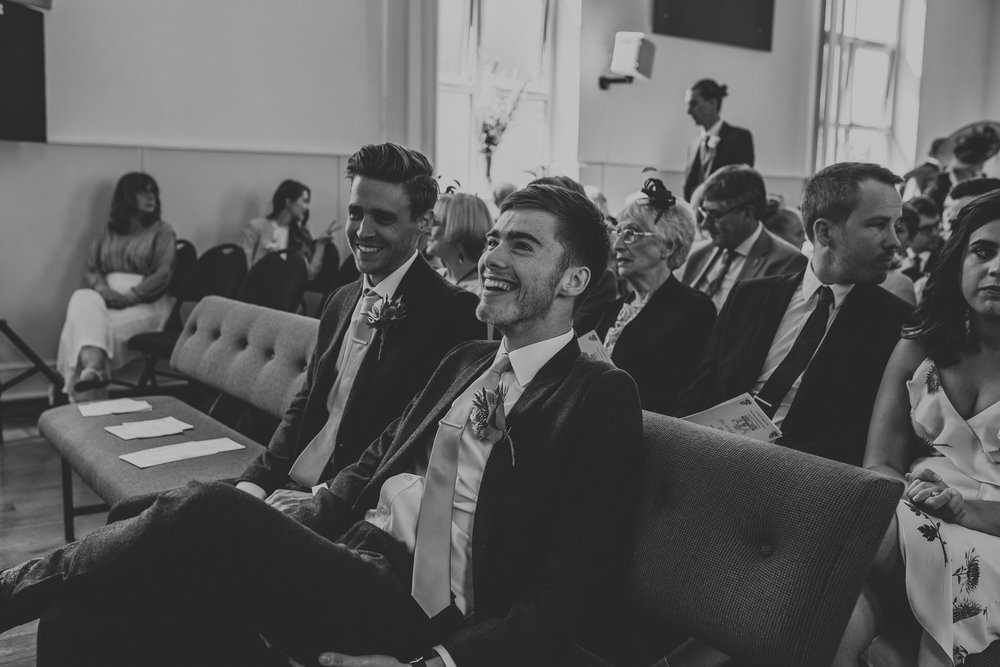 Jess and Ben - Liverpool wedding - groom and best man waiting in church