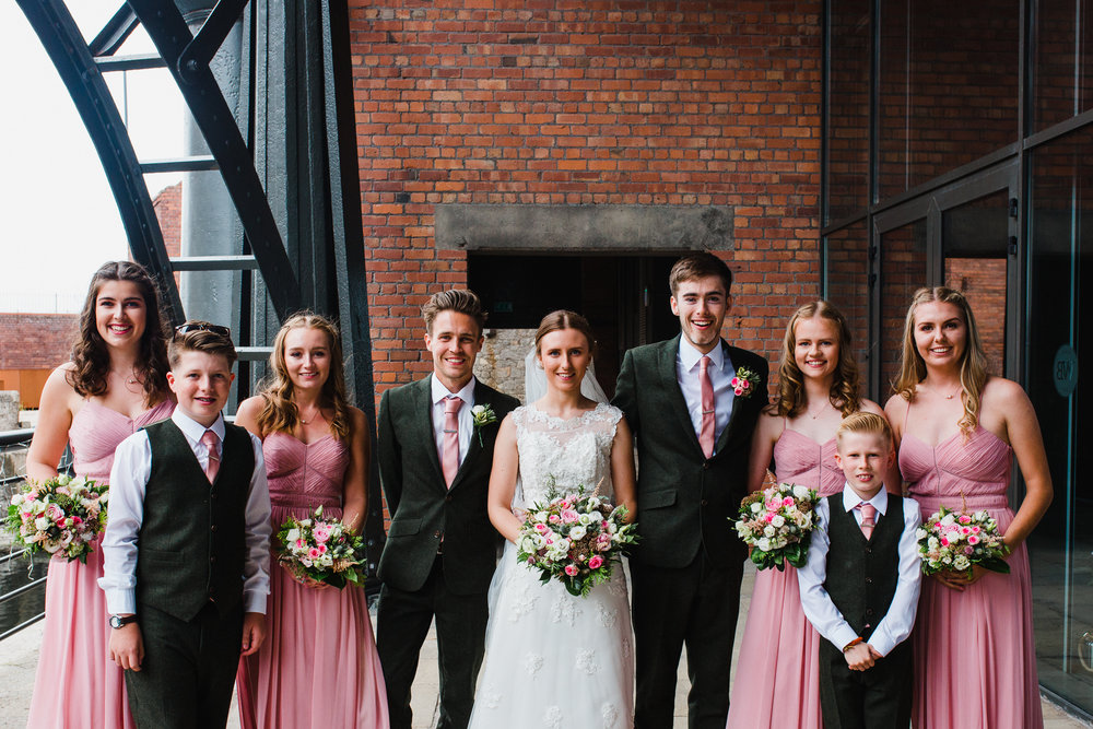 Jess and Ben - Liverpool wedding - bridal party group photo