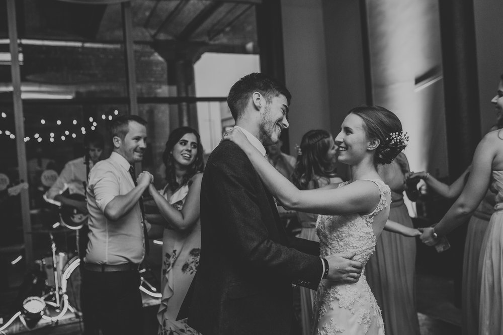Jess and Ben - Liverpool wedding - bride and groom dancing