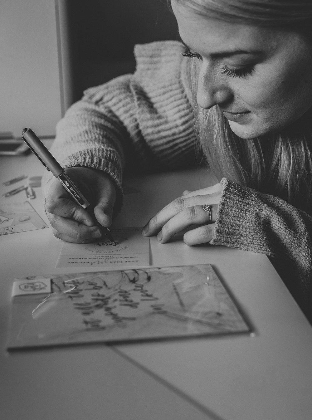 Beth writing an order