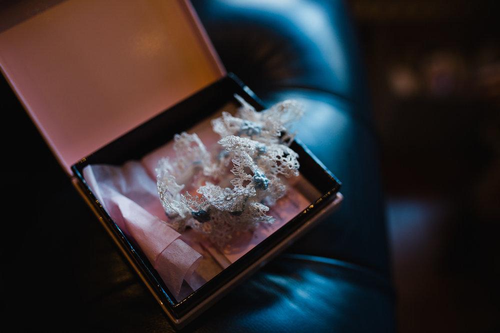 detail shot of brides garter