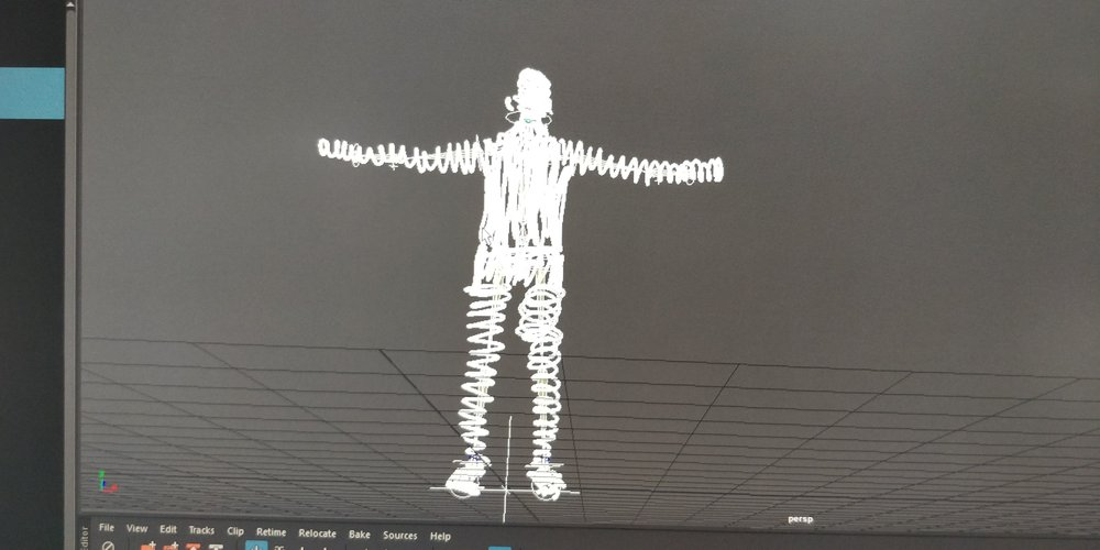 The rigged 3d doodle figure in Maya
