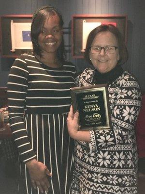 10 year award to Kenya Nelson