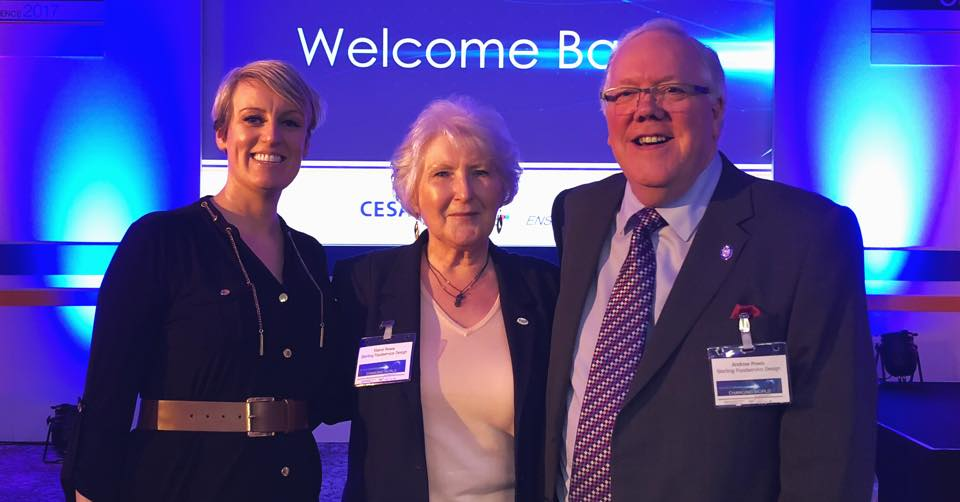Andrew & Elaine meet conference chair Steph McGovern at CESA Conference 2017