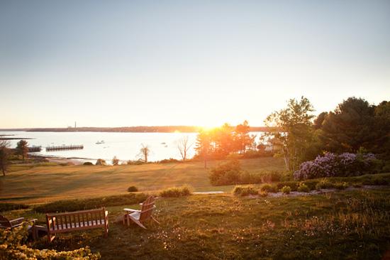 sunset over water from Chebeague Island Inn