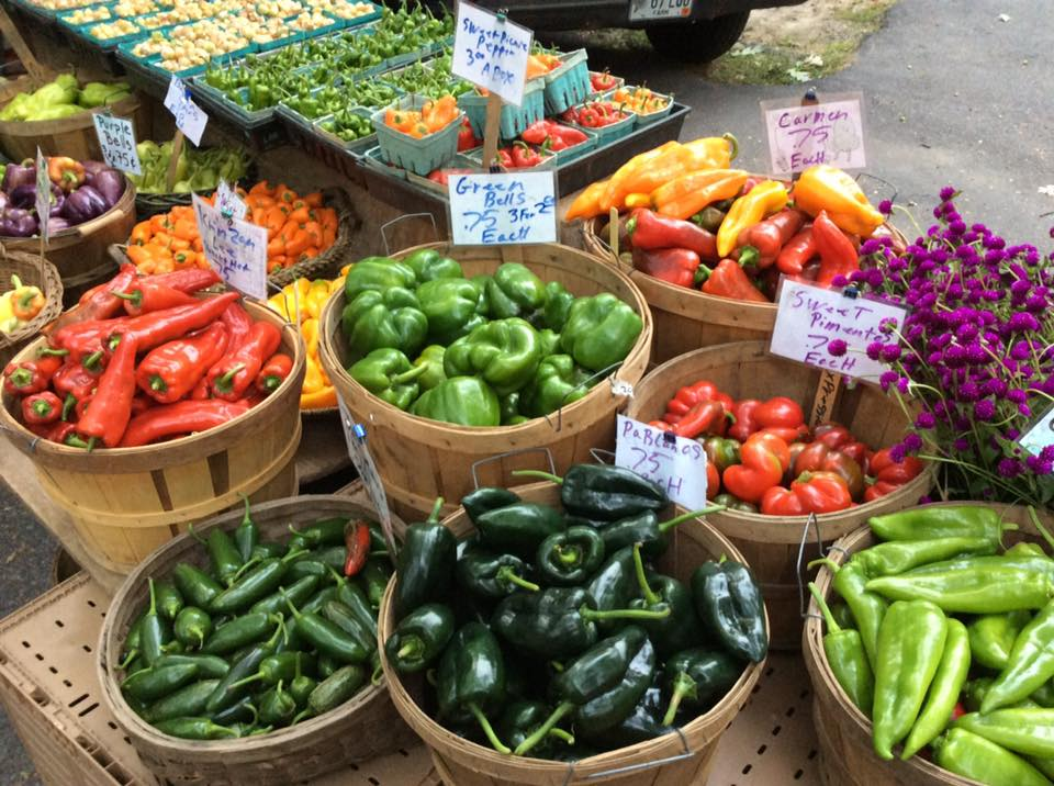 baskets of red and green peppers and flowers
