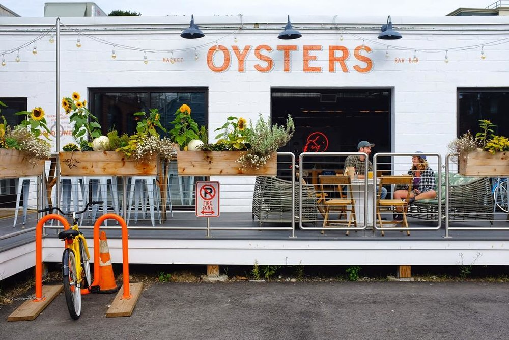 outdoor deck in front of The Shop Oysters