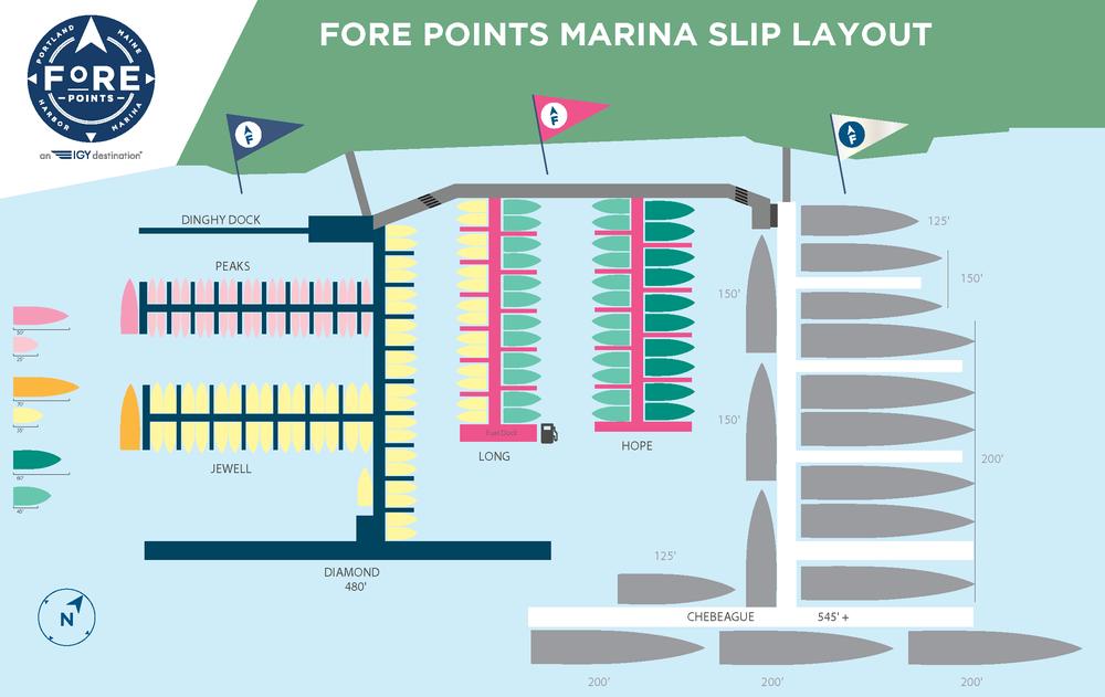 marina slip layout with boat icons