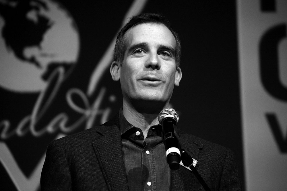 Mayor Eric Garcetti at GUESS? Inc. Headquarters on April 29, 2015 in Los Angeles, California.