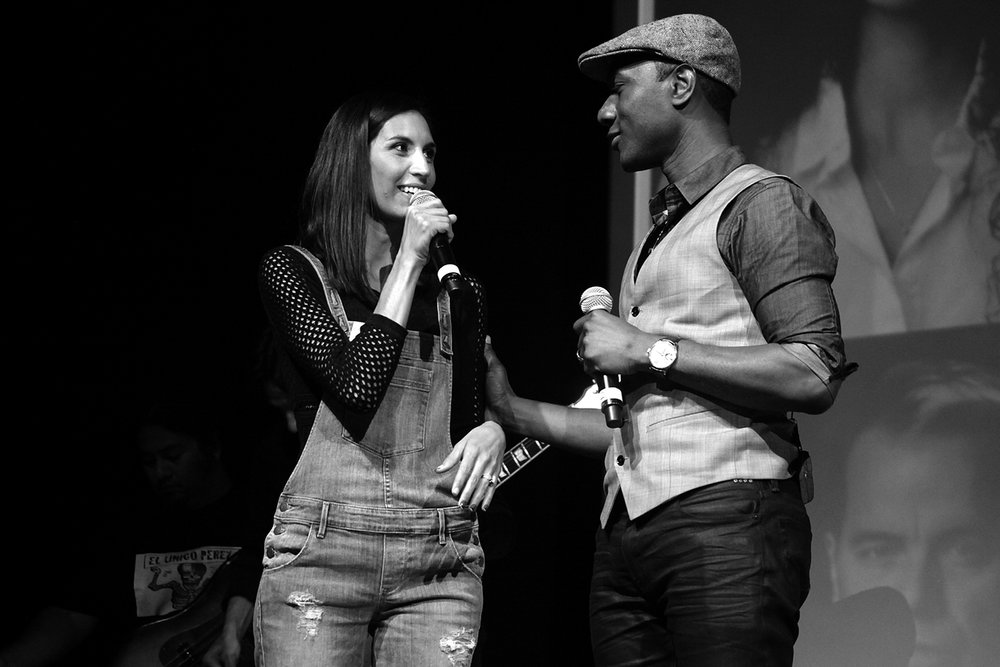 Maya Jupiter and Aloe Blacc, POV/Denim Day Spokespeople at GUESS? Inc. Headquarters on April 29, 2015 in Los Angeles, California.