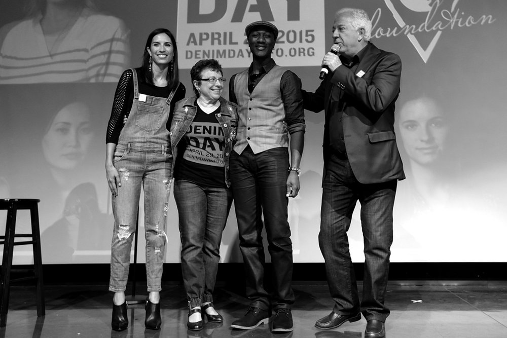 Maya Jupiter, Patti Giggans, Aloe Blacc and Paul Marciano close the 16th Denim Day Press Event at GUESS? Inc. Headquarters on April 29, 2015 in Los Angeles, California.