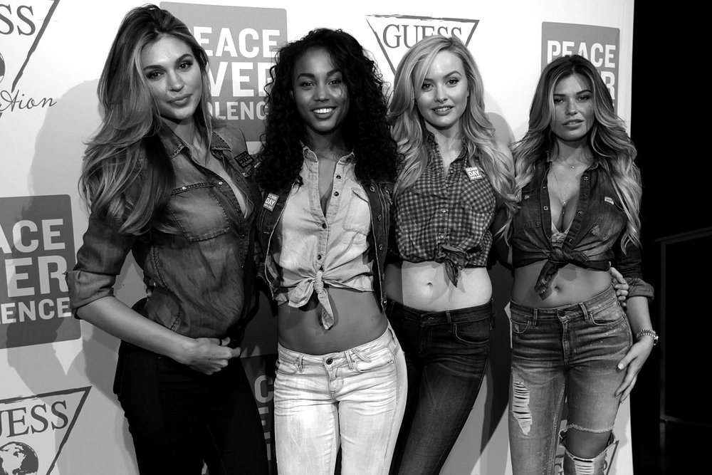 Natalie Pack, Jessica Raemy, Simone Holtznagel and Samantha Hoopes at GUESS? Inc. Headquarters on April 29, 2015 in Los Angeles, California.
