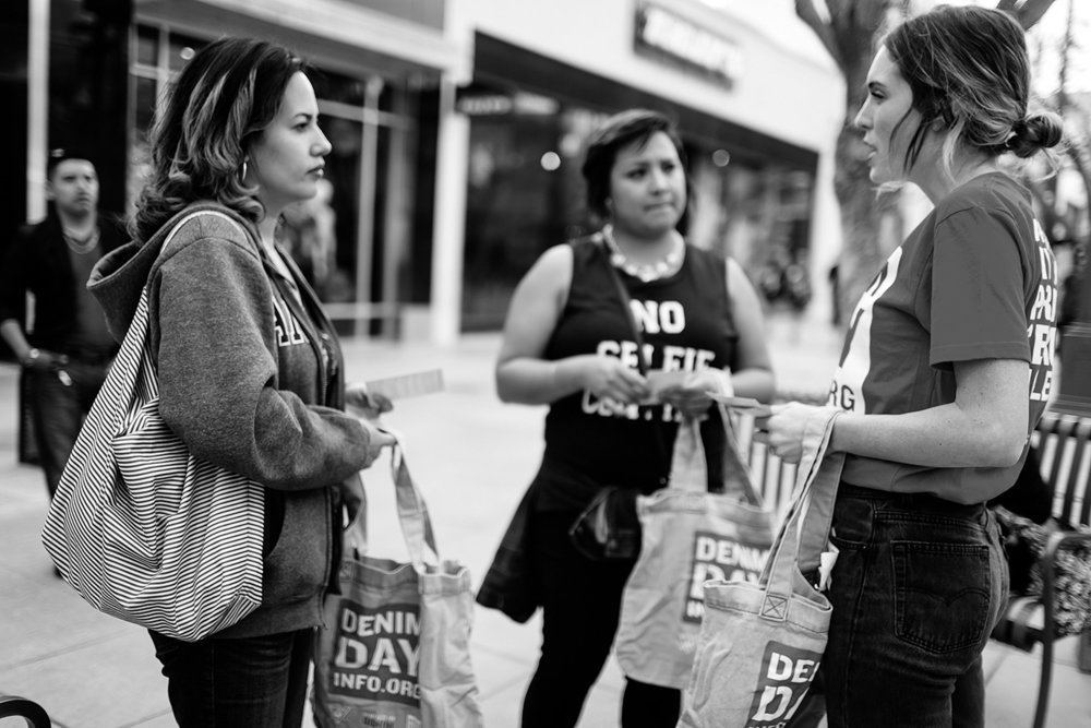 Volunteers engaging with shoppers at The Third Street Promenade