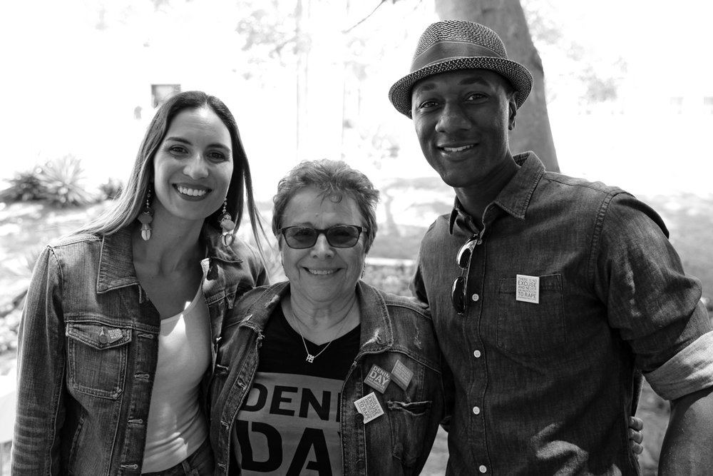 The incredible Maya Jupiter and Aloe Blacc take a moment after an inspiring rally, with Founder of Denim Day, Patti Giggans.
