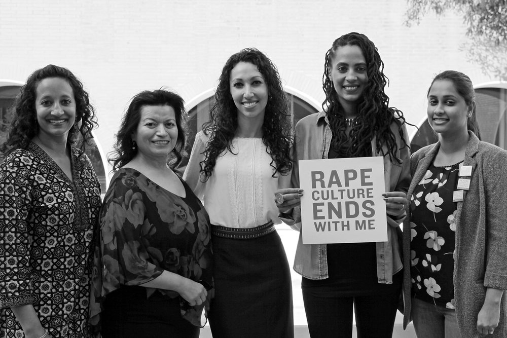 """Moderator Dr. Sumun L. Pendakur and panelists Dr. Elizabeth Reyes, Dr. Nooshin Valizadeh, Kamilah Willingham and Payal Sinha, Esq. spoke at """"Reclaiming Our Time: Talking and Making Space for Women of Color in Healing Sexual Trauma"""" at USC."""