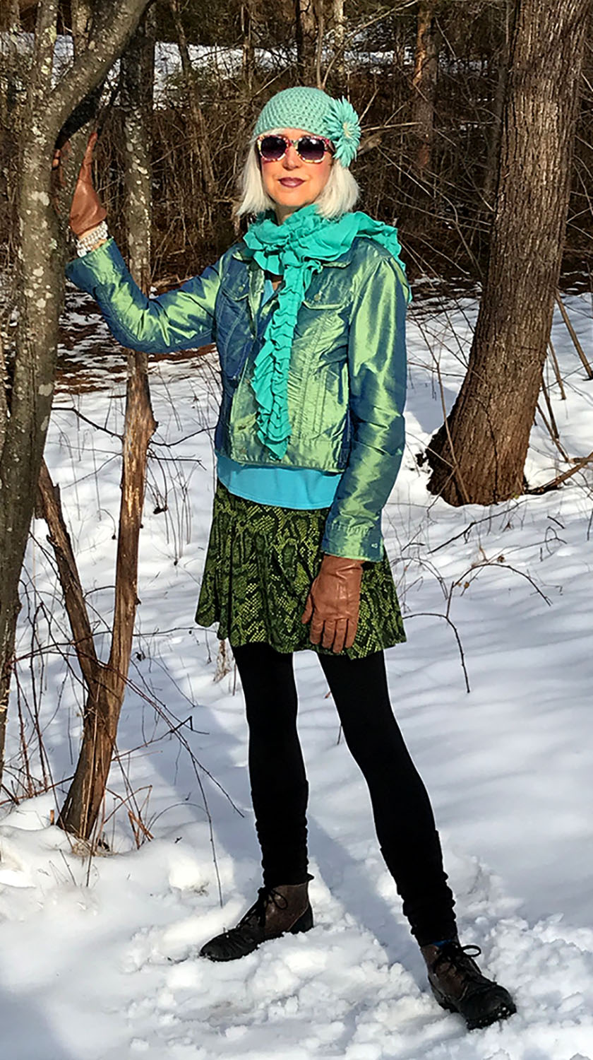 Staying cool in a lime green, silk jacket and green, snake-print skirt from local consignment shop, Natalie Dressed.  http://nataliedressed.com  The jacket has a matching skirt, but good things in small doses, right?!  Photo by Frances Rudman