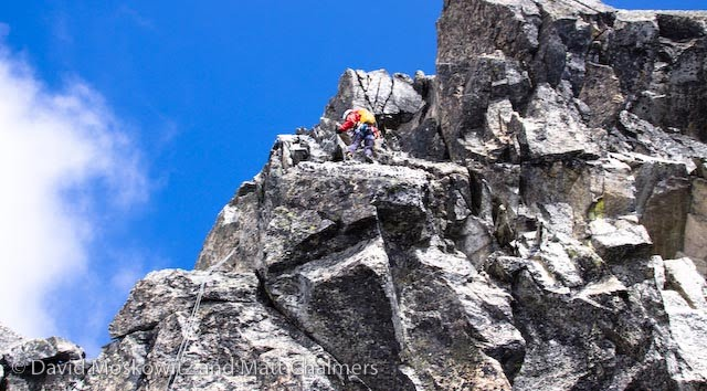Samantha navigating the north ridge of Dorado Needle.