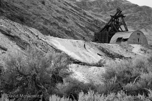Abandoned mine rigging and tailings pile close to the former town of Nighthawk, Washington.