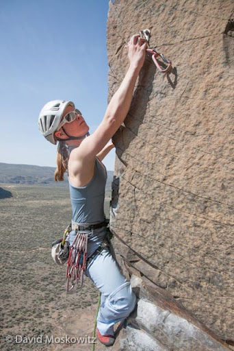 "Mountain guide and photographer Erin Smart clips them on ""Clip Em or Skip Em"", 5.8 on Sunshine Wall."